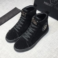 Philipp Plein Men Black Hi-Top Sneakers