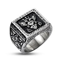 Steel Empire Signet - Royal Design Black and Stainless Steel Comfort Fit Ring