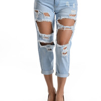 Cropped High Rise Distressed Boyfriend Jeans