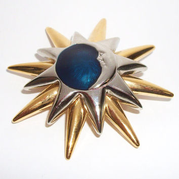 Liz Claiborne Sun Moon and Stars Celestial Brooch - Silver Tone Gold Tone Deep Blue Center - Starburst Sunburst Crescent Moon Pin