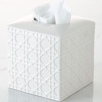 Cane Embossed Porcelain Tissue Box Cover - Kassatex