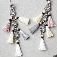 Crystal Memories Beige Rhinestone Tassel Earrings