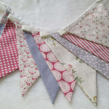 Bunting, flags or banner for child's bedroom, garden, birthday in  shabby chic fabrics by Tilda - pinks and greys