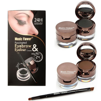 Music Flower Brand Eyebrow Eyeliner Cream Powder Palette Pro Makeup Set With Brushes Black Brown Waterproof Lasting 4pcs/Set