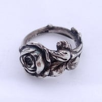 Vintage Sterling sliver spoon ring Reed & Barton Harlequin floral spoon ring Tea Rose ring, solid sterling silver, different sizes available