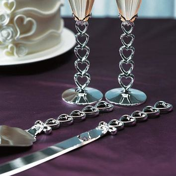 Silver Plated Stacked Hearts Cake Serving Set (Pack of 1)