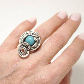Handmade silver plated wire wrapped Turquoise Ring