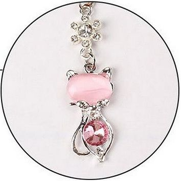 Rhinestone Cat Dust Plug For iPhone, Samsung And Universal Mobile Phone - 3.5mm