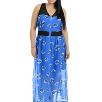 Blue Button Up Printed Maxi Dress | $10.00 | Cheap Trendy Maxi Dresses Chic Discount Fashion for Wo
