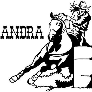Horse decal-Barrel racer sticker-Name decal-Girls room decal-Personalized-Horse sticker-Rodeo-28 X 28 inch, 65-HP