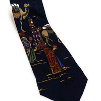 "St Nick's Tie Shop 58"" X 4"" The Three Wise Men Christmas Necktie 100% Silk Holiday Tie Retro Gift Classic Neck Tie Vintage Holiday"