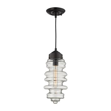 17205/1 Cipher 1 Light Pendant In Oil Rubbed Bronze And Clear Glass - Free Shipping!