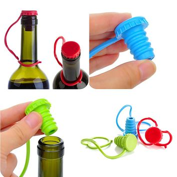 Anti-lost Silicone Hanging Button Wine Plug Bottle Cap Cover Wine Cork stoppers sealers Kitchen Tools for wine beer seasoning