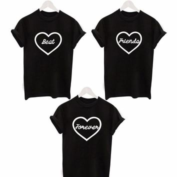 2016 fashion Cute Heart Printed T shirt lover t-shirts Best Friend Forever Tee Shirt  Women Harajuku Casual Tops Plus Size