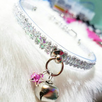 The Unicorn Collar* Clear O Ring Day Choker Submissive Holographic Sparkle Lace Bell