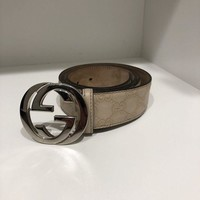 PEAPMS6 GUARANTEED AUTHENTIC Gucci Signature Leather Belt Monogram Beige 30-38