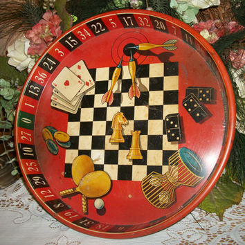 Vintage 1950u0027s Red And Black Round Metal Tray Roulette Poker Checkers Darts  Dominoes Chess Table Tennis