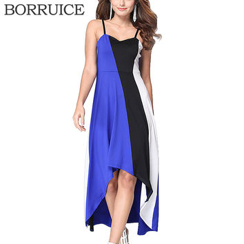 BORRUICE Beach Long Dress Plus Size Spring Summer Women Dress Splice Stripe Sexy Dresses Casual Vintage Irregular Maxi Dress