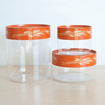 Pyrex Autumn Harvest Wheat Kitchen Canister Set, Stackable Corning Glass Orange Canisters Set USA