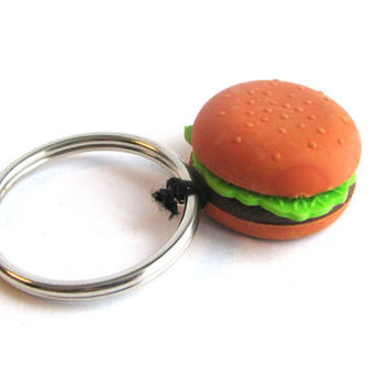 Hamburger Keychain - Toy Keychain - Toy Zipper Pull - Kawaii Keychain - Kitsch Keychain - Gag Gift - Gifts Under 10 - Miniature Food