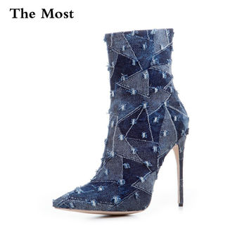 THEMOST Women Boots Fashion Stitching denim punk high thin heels Ankle boots Plus Size33-48 Autumn Winter Casual Party shoes