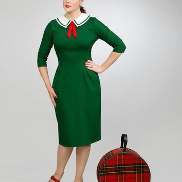 Scarlet 50's Pencil Rockabilly Inspired Dress  - Custom Sizing