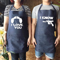 "Star Wars ""I Love You/I Know"" Apron set, Han Solo, Princess Leia, couple gifts, Apron set , canvas jeans Apron, Wedding gift, Family Cooking"