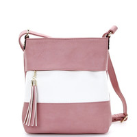 Color Block Cross-body Bag in Pink