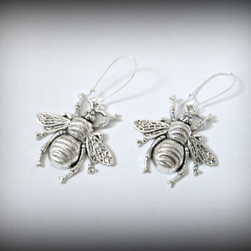Large steampunk bee earring-silver bee earring -bee dangle earring