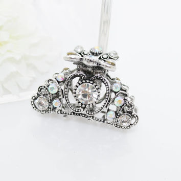 New Woman's girls small silver plated white classic hair claw clip pink rhinestone