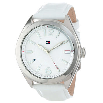 Tommy Hilfiger 1781364 Women's Maxi White Dial White Leather Strap Watch