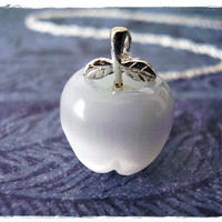 Tiny White Apple Charm Necklace in Fiber Optic & Sterling Silver with a Delicate 18 Inch Sterling Silver Cable Chain