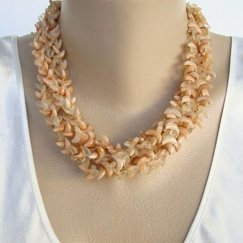 4-Strand Lightweight Crescent Shaped Bead Necklace Vintage Jewelry