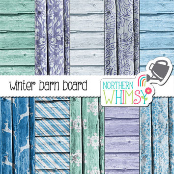 Winter Digital Paper Pack – barn board papers in blue with winter patterns for digital scrapbooking – wood digital paper - commercial use
