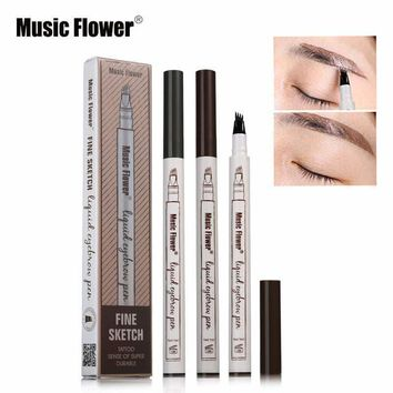 Music Flower Brand 3 Colors Fine Sketch Liquid Eyebrow Pen Long-lastng Makeup Waterproof Smudge-proof Eye Brow Pencil Tattoo Kit