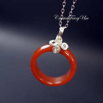 Sterling Silver Genuine Red Carnelian Necklace -  Carnelian Ring Necklace - Root Chakra Healing - Stone Ring Necklace