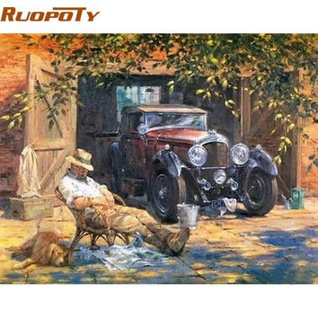 RUOPOTY Relax Car Canvas Picture Diy Painting By Numbers Acrylic Paint Vintage Painting Hand Painted For Home Wall Art Decor