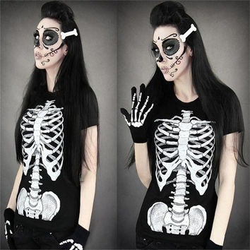 Black Women Punk Fashion High Quality Tank Dress Gothic T-shirt Digital Print Skeleton Beauty Top = 1956864580