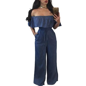 Women's New Fashion Off Shoulder Denim Jean Wide Bell Bottom Jumpsuit Romper Stretchy Waist Elastic Hem Top Palazzo Bottom Pants