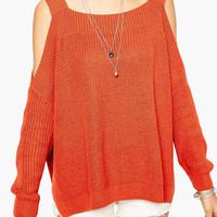 Off Shoulder Long Sleeve Knitted Top