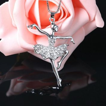 Fashion Silver Plated white Dancing Ballerina Dancer Ballet Dance Pendant Necklace Charm Girls Christmas Valentine's day Gift