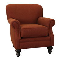 Charles Red Fabric Rolled Arm Accent Club Chair