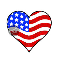 American Flag Heart Car Decal Sticker: Cute Patriotic Bumper Sticker Laptop Decal America Stars Stripes Red White Blue