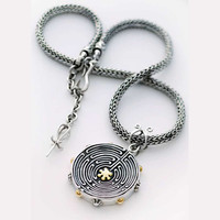 Cathedral Labyrinth Sterling Silver Gold Necklace