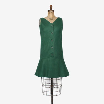 Vintage 60s GEOFFREY BEENE Dress / 1960s Mod Green Linen Drop Waist Dress M