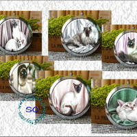 Siamese Cats - - Digital Collage Sheets - 2.25 inch Circles for Mirrors, Party Favors, Wedding Projects, Crafts