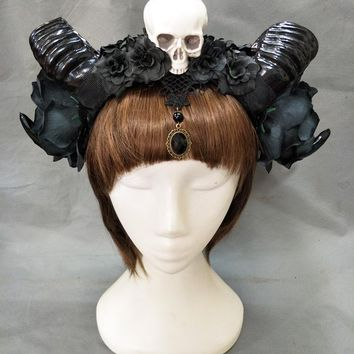 Skull Skulls Halloween Fall Girl Halloween Stereo Devil Horns  Headband Gothic Sheep Horn Flowers Headdress Hairband Cosplay Headwear Accessories Calavera