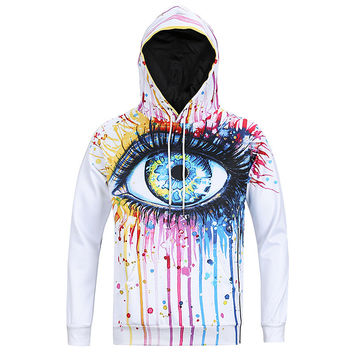 All Seeing Eye V2 All Over Print Rainbow Paint Dripping Tears Eye White Hoodie