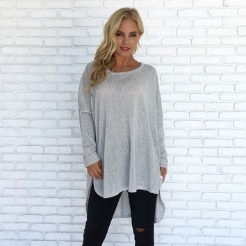 I'm Not Your Basic Knit Sweater In Grey