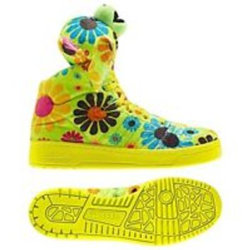 Adidas Jeremy Scott Teddy Bear JS Shoes Flower Green Neon Faux Fur Rare YOLO